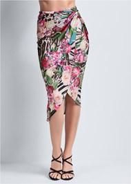 Waist down front view Tropical Print Midi Skirt