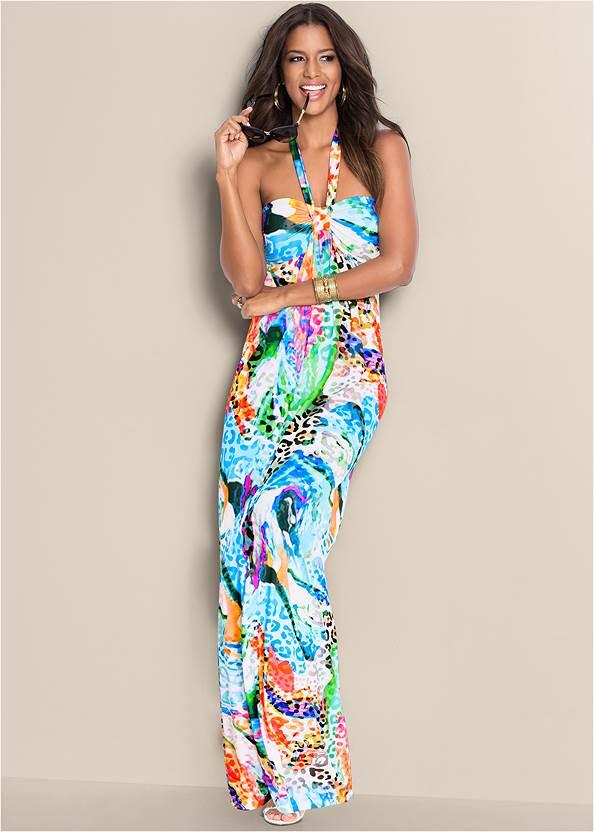 Printed Halter Dress,Embellished Sandals