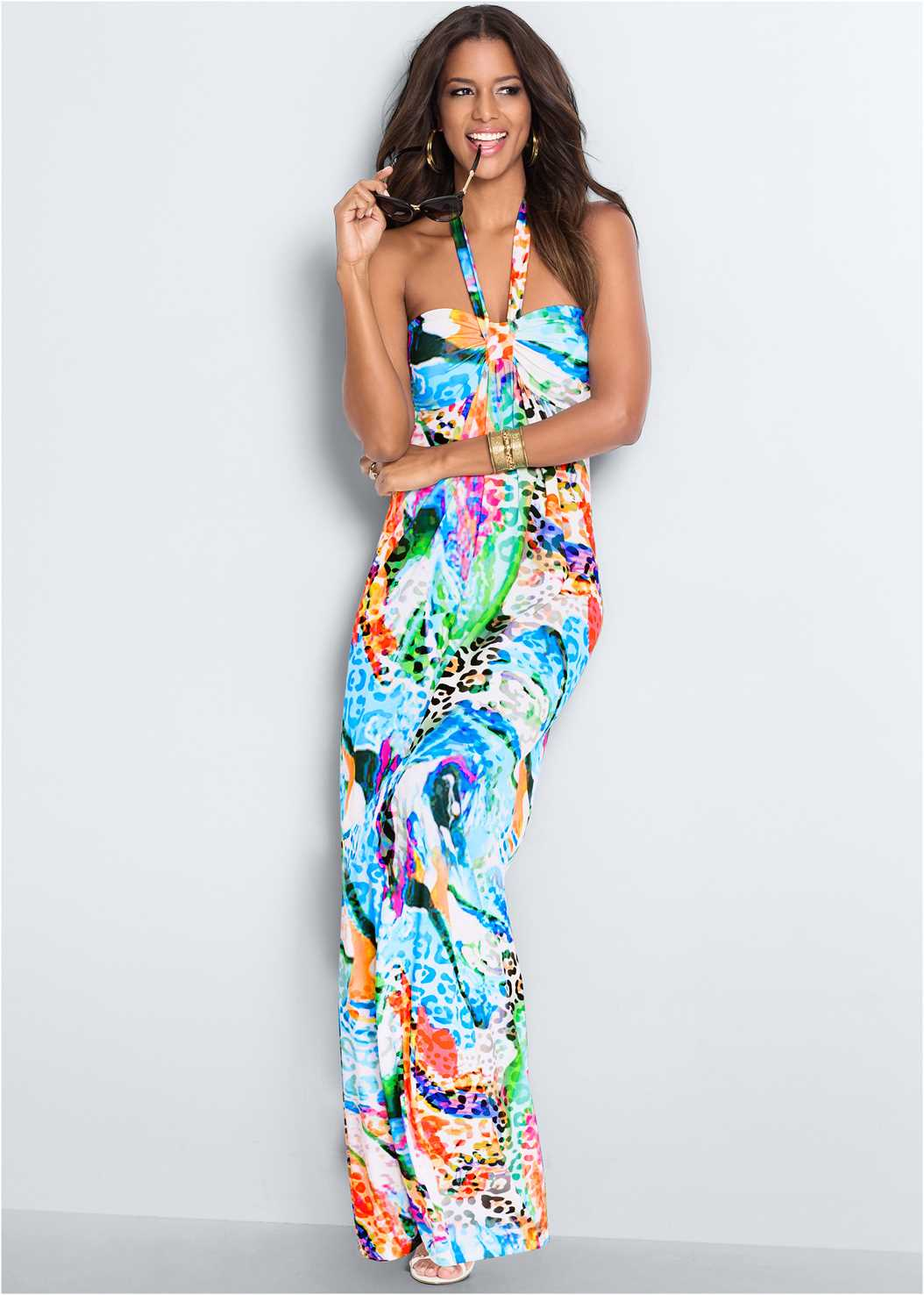 Printed Halter Dress,Embellished Sandals