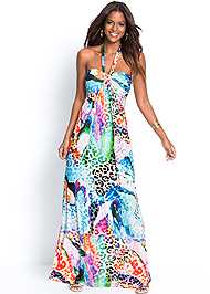 Full  view Printed Halter Dress