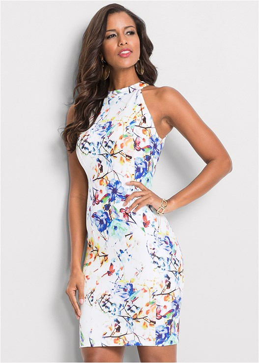 FLORAL BODYCON DRESS,CONFIDENCE SEAMLESS DRESS,STRAPPY HEELS,BLOCK HEELS