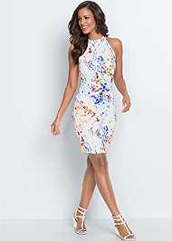 Full  view Floral Bodycon Dress