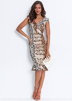 mixed animal print dress