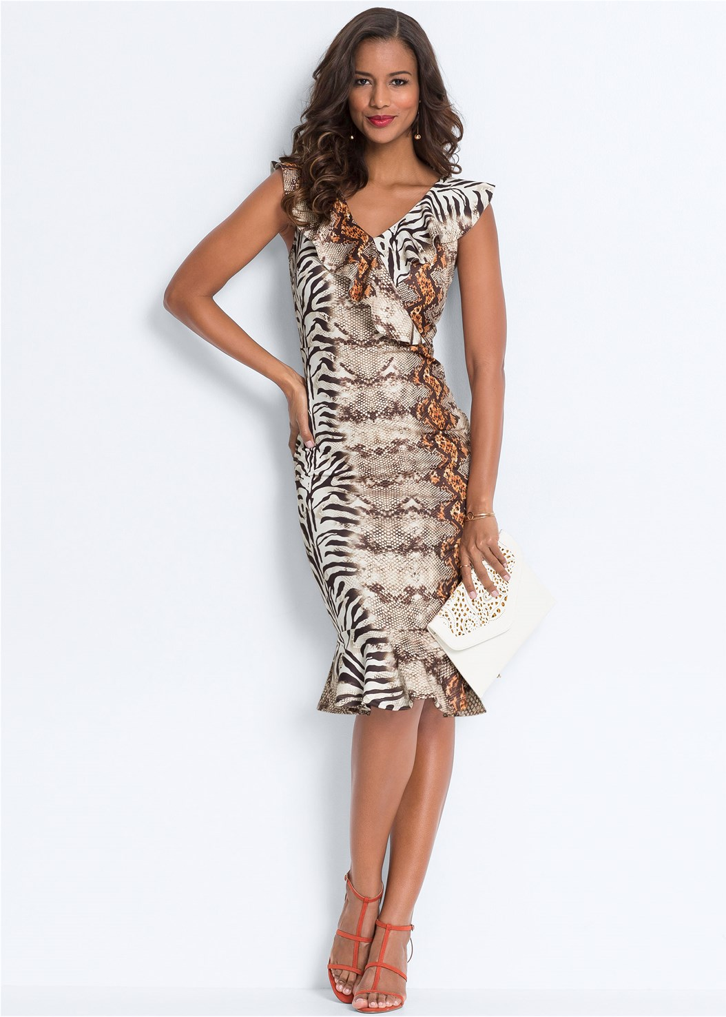 Mixed Animal Print Dress,Push Up Bra Buy 2 For $40