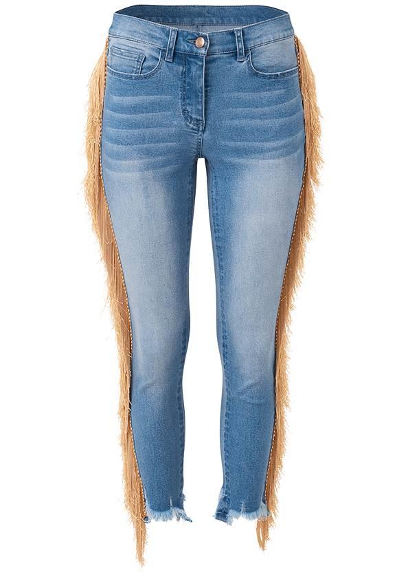 Alternate View Cropped Fringe Trim Jeans