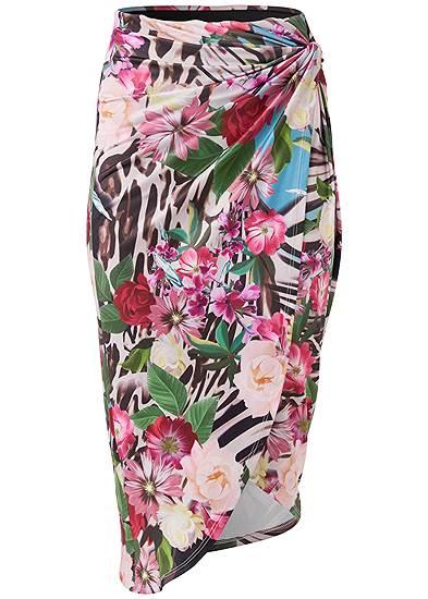 Plus Size Tropical Print Midi Skirt
