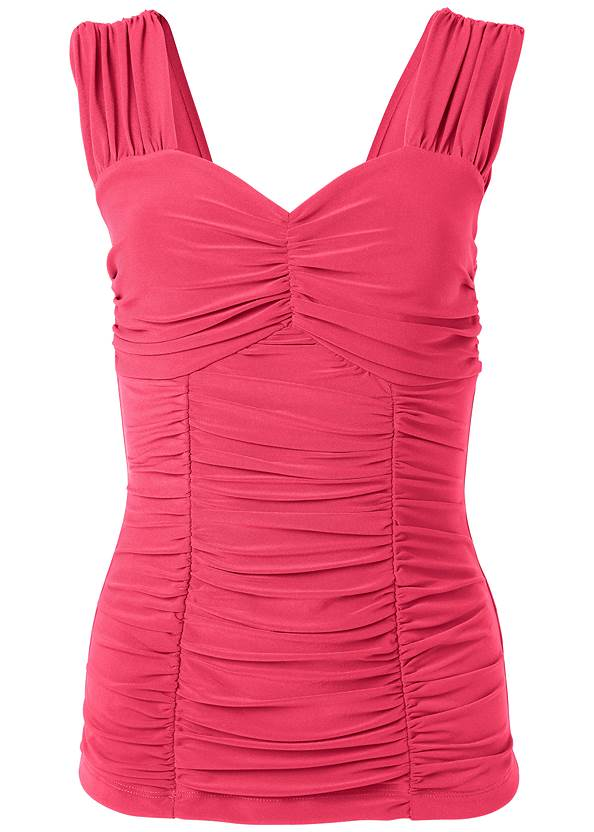 Ghost  view Ruched Sweetheart Top