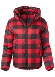 Ghost with background  view Plaid Print Puffer Jacket