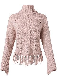 plus size cable knit fringe sweater
