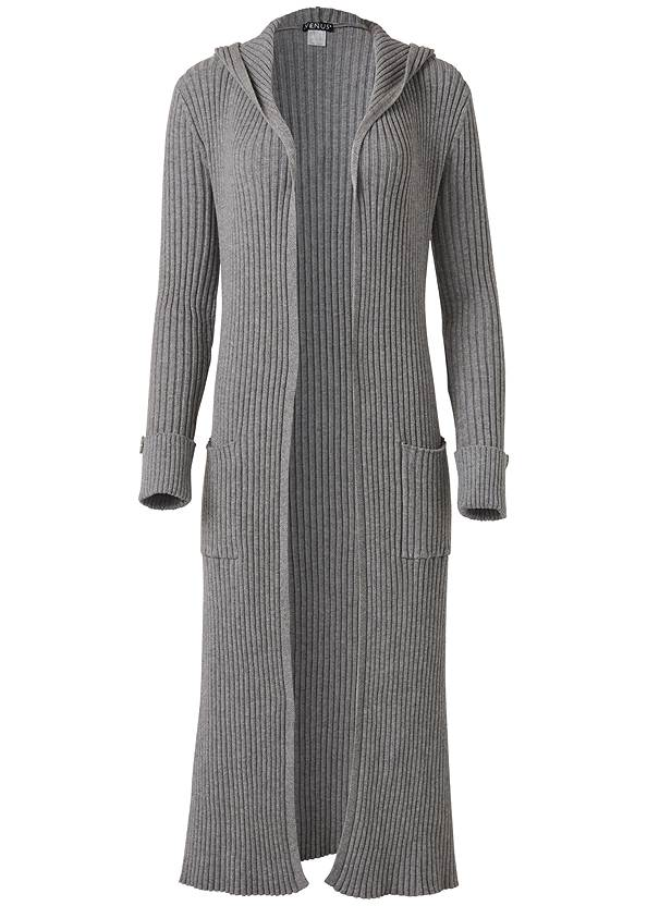 Ghost  view Ribbed Hooded Duster
