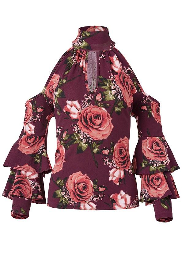 Cold Shoulder Floral Top,Mid Rise Slimming Stretch Jeggings