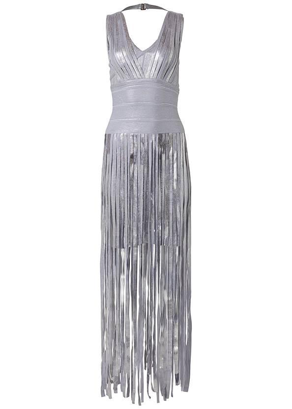 Alternate View Metallic V Neck Dress