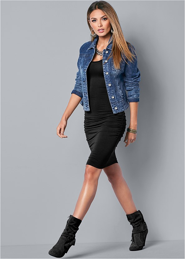 Jean Jacket,Basic Cami Two Pack,Mid Rise Color Skinny Jeans,Sleeveless Ruched Bodycon Midi Dress,Knotted Slouchy Boots