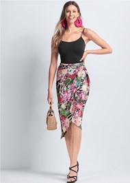 Front View Tropical Print Midi Skirt