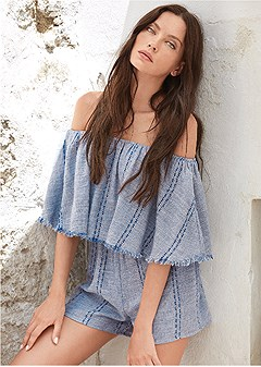 ruffle top romper cover-up