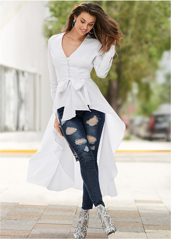 High Low Tie Front Blouse,Ripped Skinny Jeans,Python Clutch