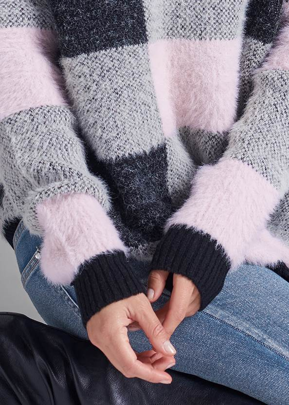 Alternate View Cozy Plaid Sweater