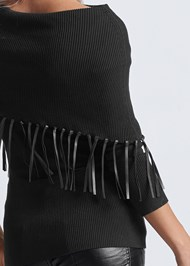 Alternate View Faux Leather Fringe Sweater