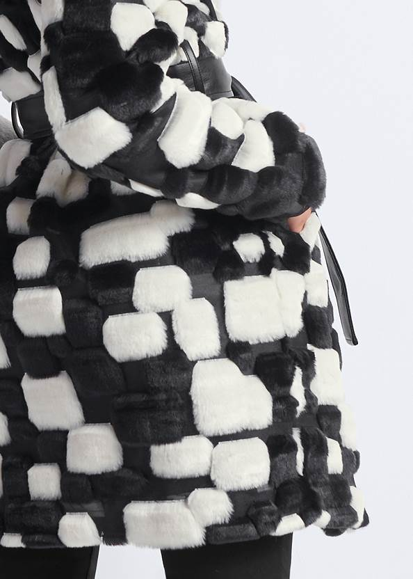 Alternate View Color Block Faux Fur Coat