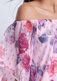 Detail front view Off The Shoulder Floral Top