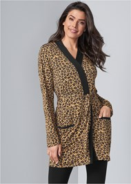 Front View Animal Print Robe