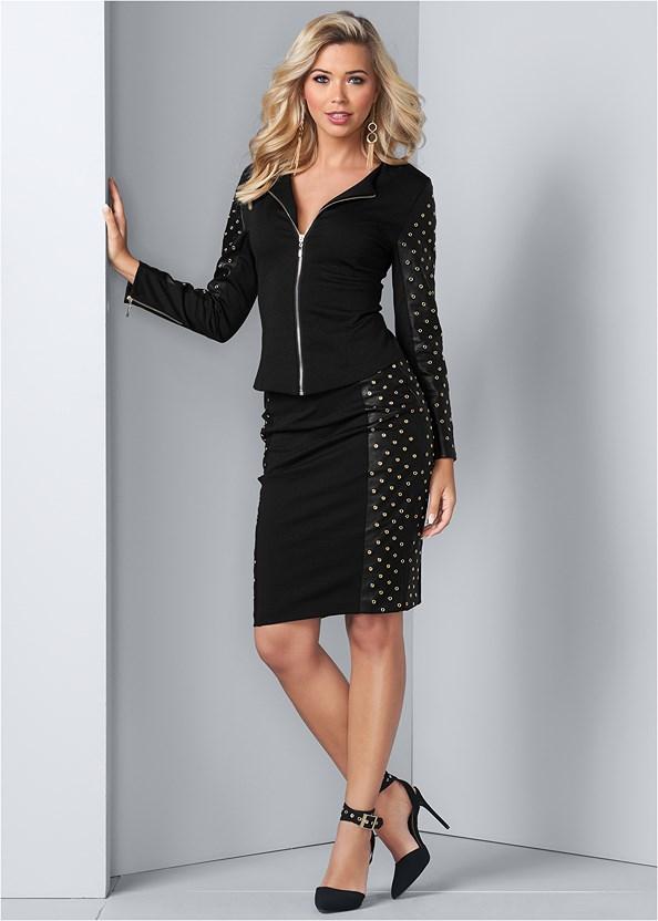 Grommet Detail Skirt Set,Mesh Insert Velvet Bodysuit