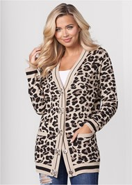 Front View Leopard Cardigan