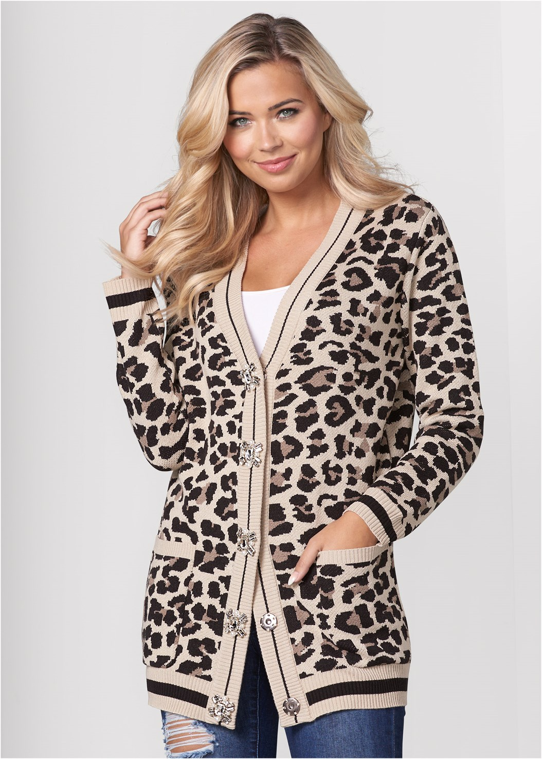 Leopard Cardigan,Basic Cami Two Pack,Ripped Bum Lifter Jeans,Cage Contour Bra,Buckle Detail Booties,Fringe Scarf