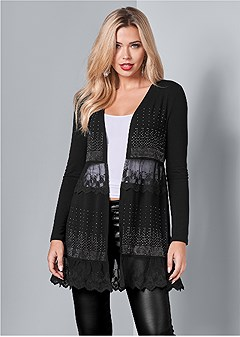 embellished lace cardigan