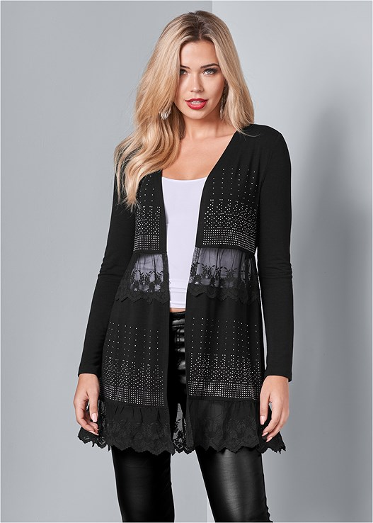 EMBELLISHED LACE CARDIGAN,SEAMLESS CAMI,FAUX LEATHER PANTS,LACE DEEP V BODYSUIT,LACE UP BOOTIE,HOOP TASSEL DROP EARRINGS
