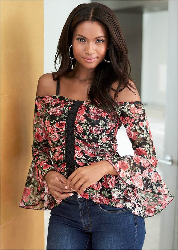 Floral Lace Top,Mid Rise Color Skinny Jeans