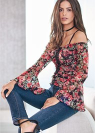 Front View Floral Lace Top