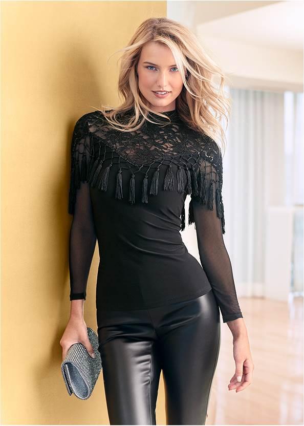 Sequin Lace Tassel Top,Faux Leather Pants,Faux Leather Leggings,Rhinestone Clutch