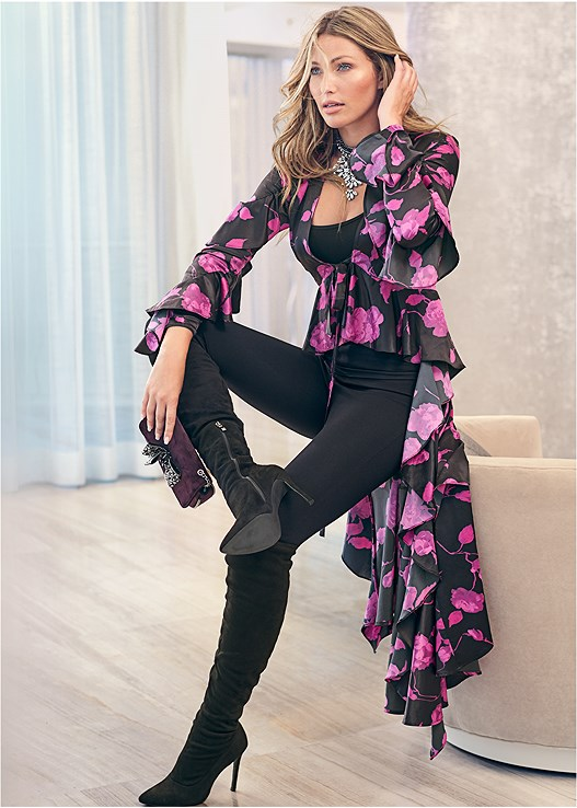 FLORAL HIGH LOW BLOUSE,SEAMLESS CAMI,SLIMMING STRETCH JEGGINGS,SLIMMING BUM LIFTER PANTS,CUPID U PLUNGE BRA,CUT OUT DETAIL BOOTS,STATEMENT NECKLACE,EMBELLISHED CROSSBODY