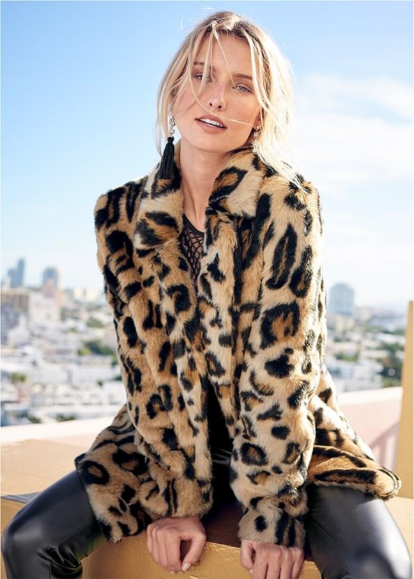 Faux Fur Leopard Print Coat,Basic Cami Two Pack,Sequin Detail Mesh Top,Faux Leather Leggings,Jewel Fringe Earrings