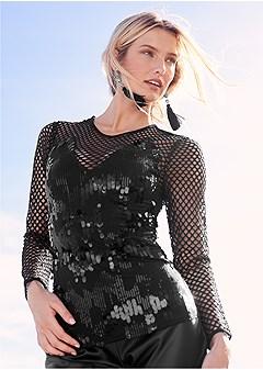 sequin detail mesh top