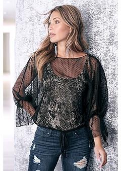 mesh overlay leopard top