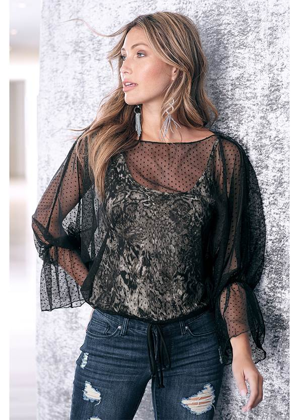 Mesh Overlay Leopard Top,Ripped Skinny Jeans,Faux Leather Pants