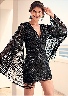 fringe sleeve sequin dress