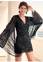 Alternate View Fringe Sleeve Sequin Dress
