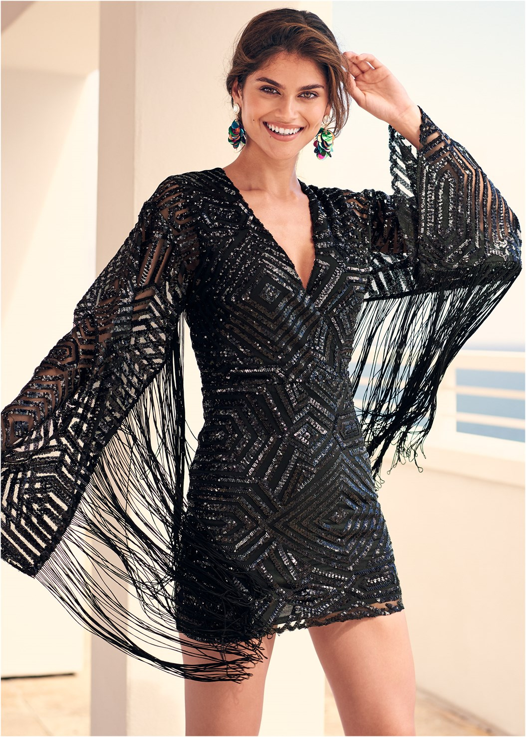 Fringe Sleeve Sequin Dress,Cut Out Detail Boots,Jewel Fringe Earrings,Stud Detail Crossbody