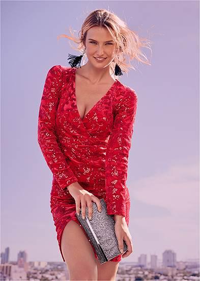 Plus Size Sequin Velvet Detail Dress