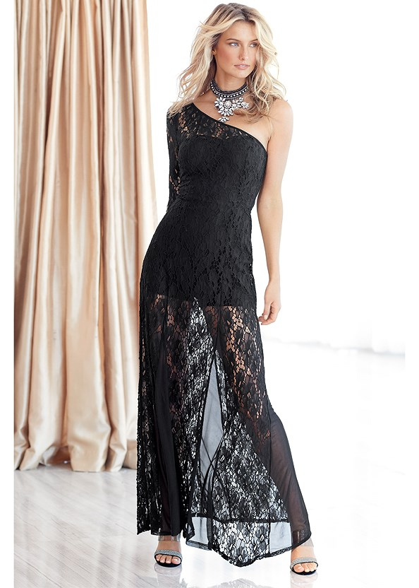 Lace Gown,Full Figure Strapless Bra,Beaded Tassel Earrings,Rhinestone Clutch