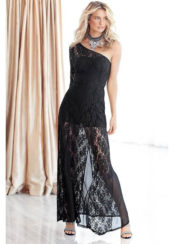 Lace Gown,Beaded Tassel Earrings,Rhinestone Clutch