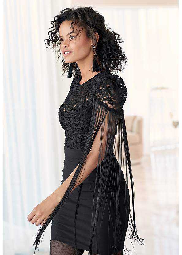 Lace Detail Dress,Rhinestone Clutch