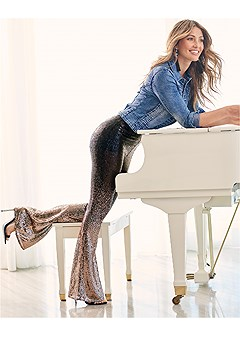 sheer ombre sequin pants