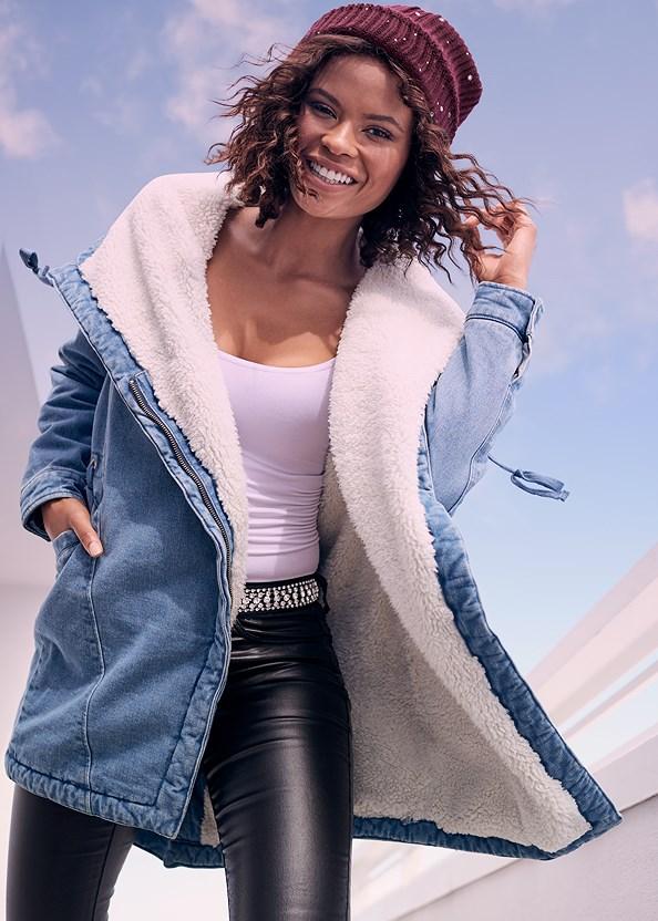 Fleece Lined Denim Coat,Basic Cami Two Pack,Faux Leather Pants,Embellished Waist Belt,Floral Cut Out Handbag,Stud Detail Handbag