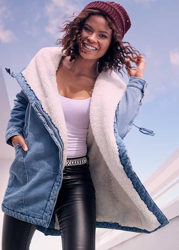 Fleece Lined Denim Coat,Basic Cami Two Pack,Faux Leather Pants,Embellished Waist Belt,Floral Cut Out Handbag