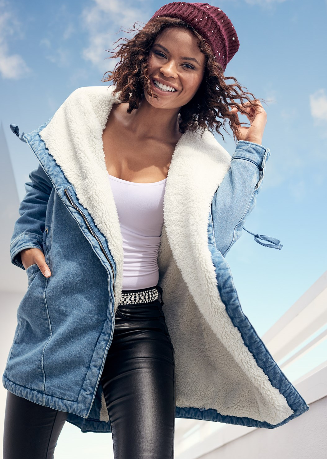 Fleece Lined Denim Coat,Basic Cami Two Pack,Faux Leather Pants,Embellished Waist Belt