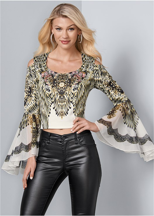 EMBELLISHED BELL SLEEVE TOP,FAUX LEATHER PANTS,PULLOVER LACE BRA,CUT OUT DETAIL HEELS